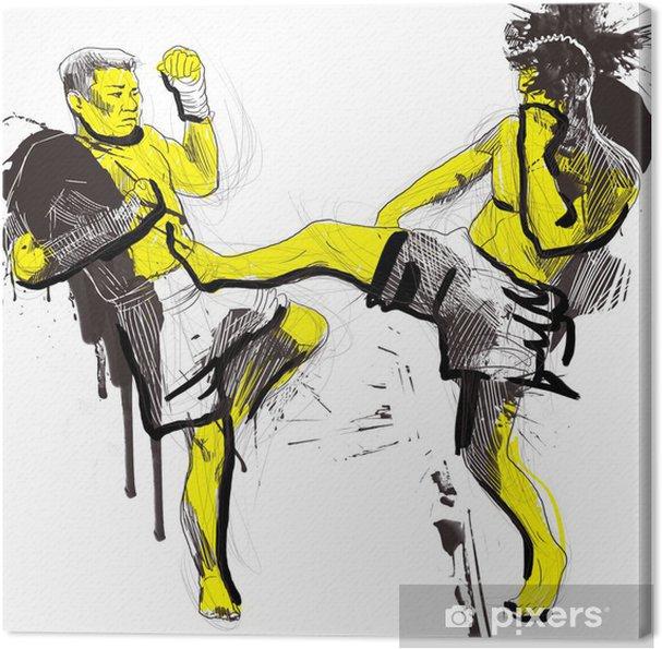 Obraz na płótnie Tajski boks (walki sztuki walki z Tajlandii) - rysunek odręczny - Sporty indywidualne