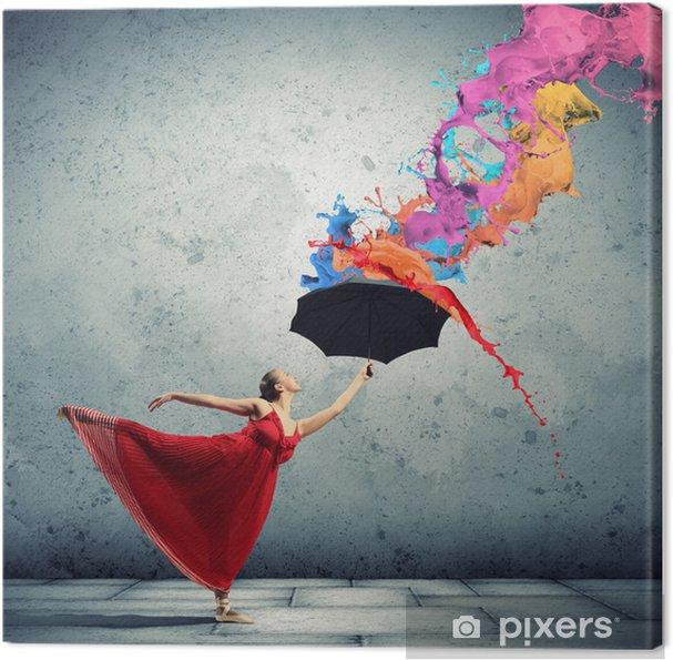 Obraz na płótnie Tancerka baletowa w latające satynową sukienkę z parasolem - Tematy