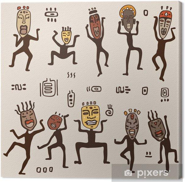 Obraz na płótnie Tańczące postacie w maskach afrykańskich. - Afryka