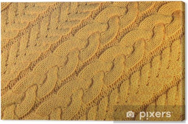 Obraz na płótnie Teksturę musztardy z dzianiny z grubym lepkim warkoczem - Zasoby graficzne