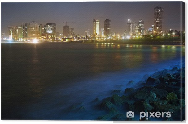 Obraz na płótnie Tel Aviv. Nocny widok z Jaffy - Bliski Wschód