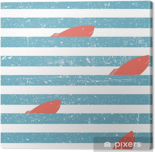 Obraz na płótnie Tło morskich z czerwoną rybą bez szwu. niebieskie linie wzór. - Zasoby graficzne