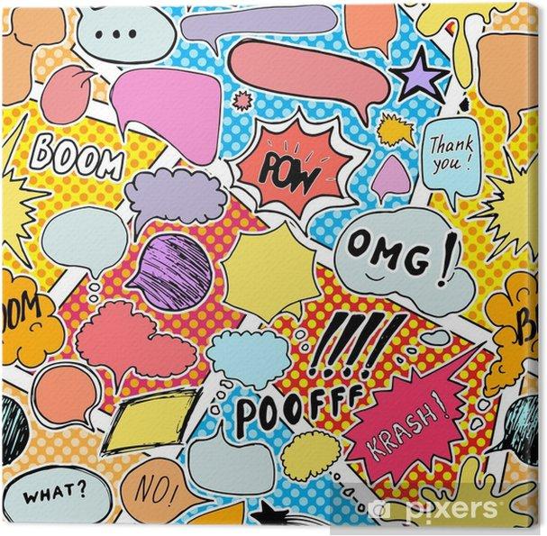 Obraz na płótnie Tło wzór z handdrawn komiksu dymki, ilustracji wektorowych - Zasoby graficzne