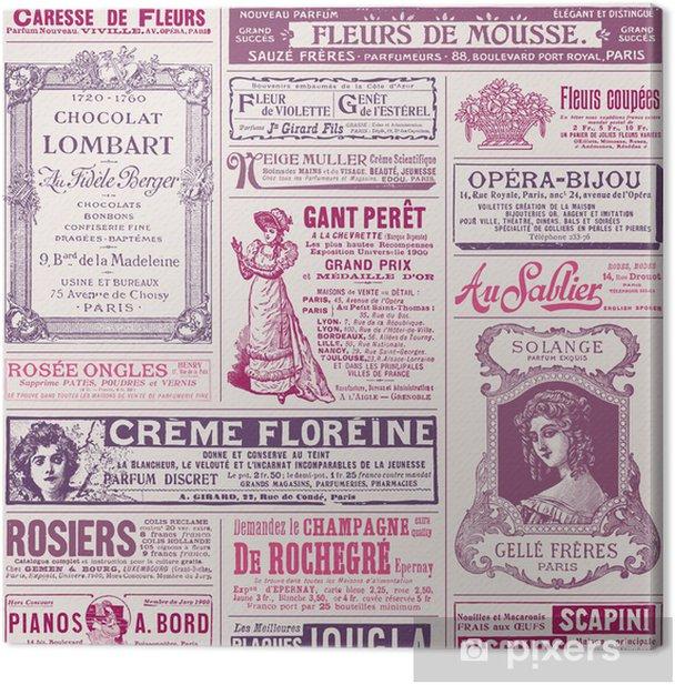 Obraz na płótnie Tło / wzorek z archiwalne francuskich reklam na damskie tematy - Czytanie