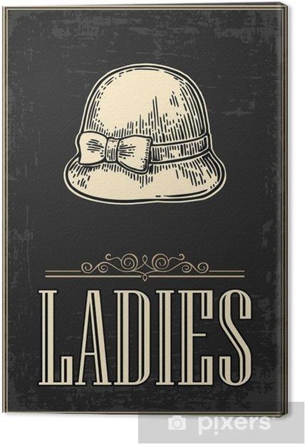 Obraz na płótnie Toaleta retro grunge plakatu. Damski. Vector vintage grawerowane ilustracji na czarnym tle. Dla barów, restauracji, kawiarni, pubów - Zasoby graficzne