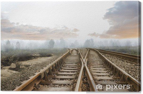 Obraz na płótnie Tory kolejowe prowadzące do mglistym lesie - Lasy