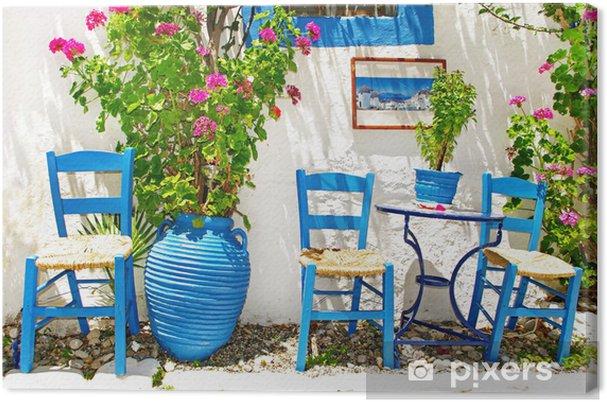 Obraz na płótnie Tradycyjna Grecja series - mała ulica tawern - Tematy
