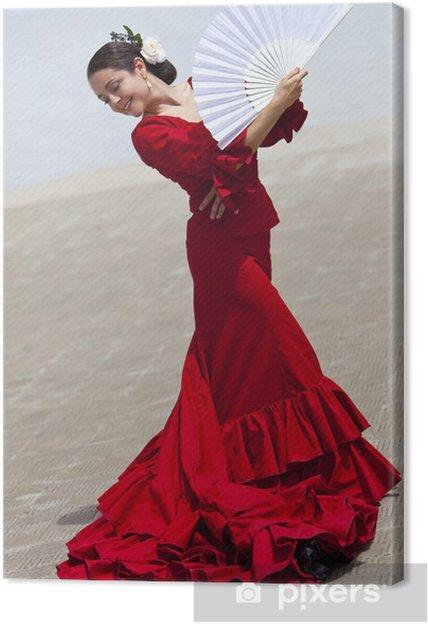 Obraz na płótnie Tradycyjna hiszpańska tancerka flamenco kobieta w czerwonej sukni z wentylatorem - Hiszpania