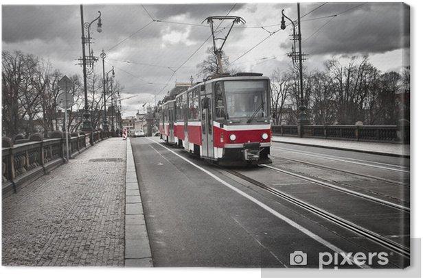 Obraz na płótnie Tramwaj w mieście Praga - Praga