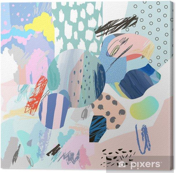 Obraz na płótnie Trendy twórczy kolaż z różnych tekstur i kształtów. Nowoczesna szata graficzna. Niezwykłe dzieło. Wektor. Odosobniony - Zasoby graficzne