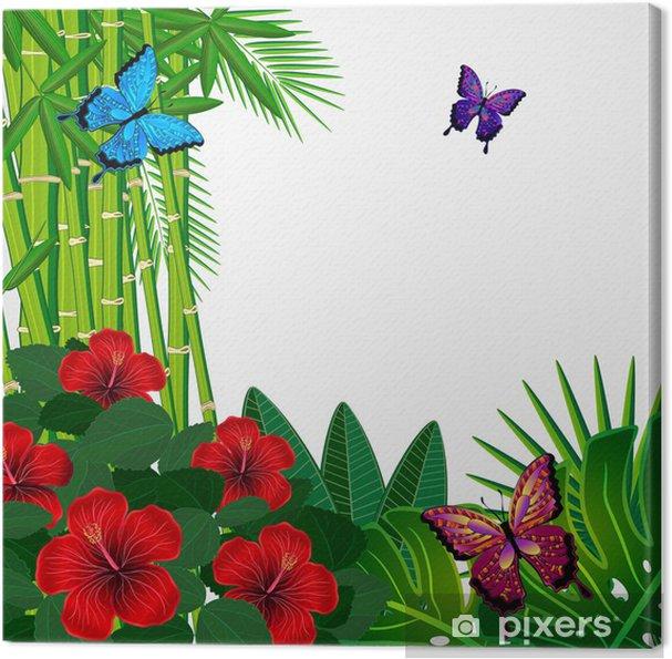 Obraz na płótnie Tropical kwiatowy wzór tła z motyli. - Tła