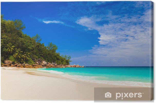 Obraz na płótnie Tropikalna plaża na wyspie Praslin, Seszele - Wakacje