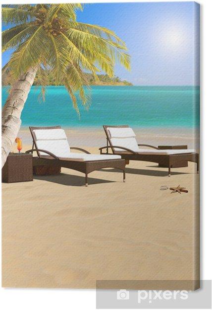 Obraz na płótnie Tropikalna plaża z drzewa kokosowego - Azja