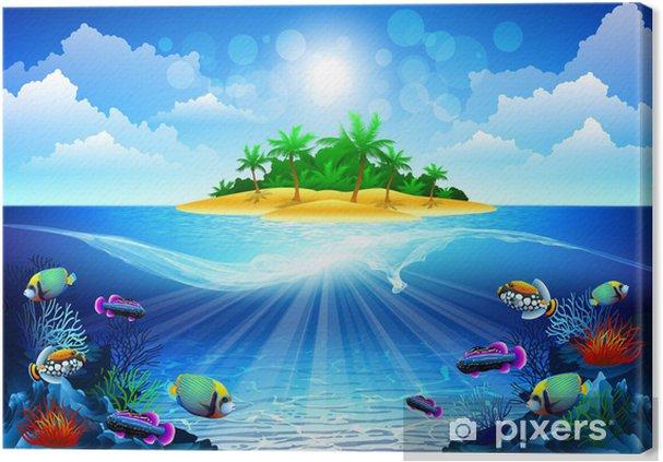 Obraz na płótnie Tropikalna wyspa w oceanie z rafy koralowej - Tematy