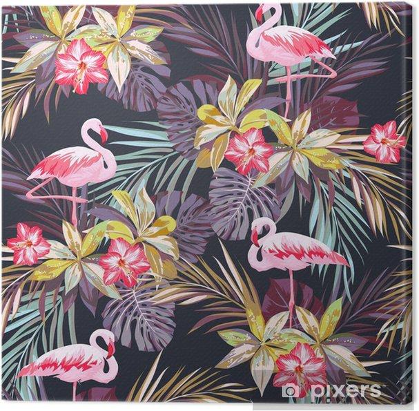 Obraz na płótnie Tropikalne lato szwu z ptaków Flamingo i egzotycznych roślin -