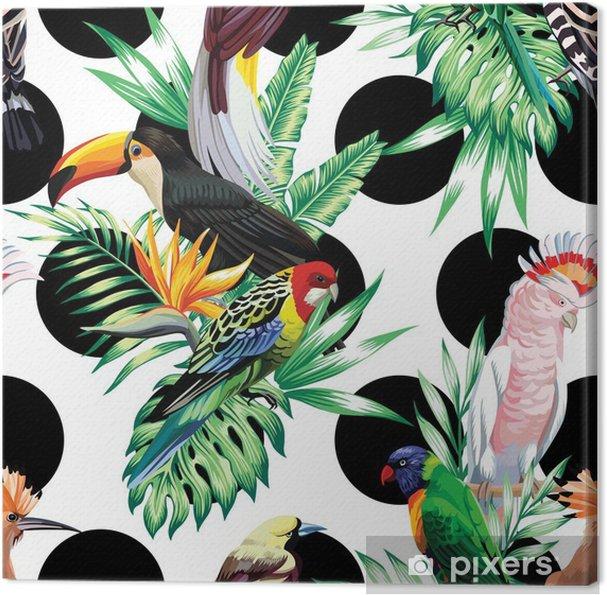 Obraz na płótnie Tropikalnych ptaków i liści palmowych wzór - Zwierzęta