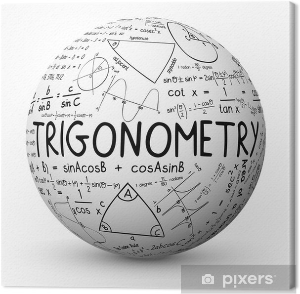 """Obraz na płótnie """"Trygonometria"""" Sphere (matematyka matematyka szkic notatki) - Nauka"""