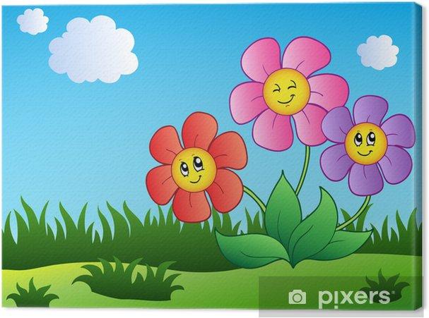 Obraz na płótnie Trzy kreskówka kwiaty na łące - Kwiaty