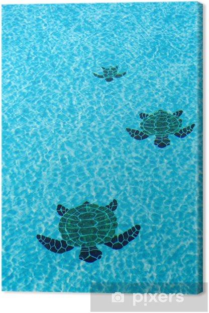 Obraz na płótnie Trzy żółwie kafelki na dnie basenu - Style