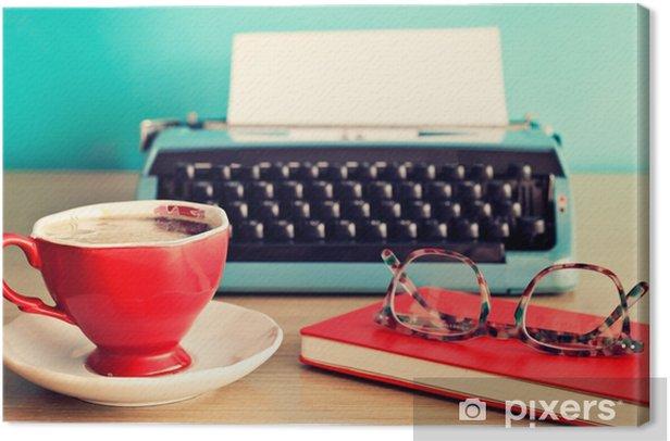 Obraz na płótnie Turkus do pisania, filiżanka kawy i okulary na czerwony notatnik - Styl życia