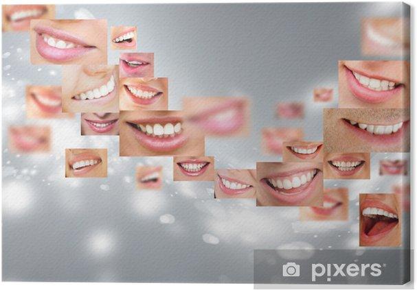 Obraz na płótnie Twarze uśmiechniętych ludzi w zestawie. zdrowe zęby. uśmiech - Tematy