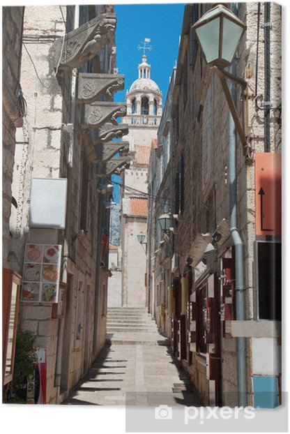 Obraz na płótnie Typowy wąska ulica w starego średniowiecznego miasta Korcula przez suny dni - Europa