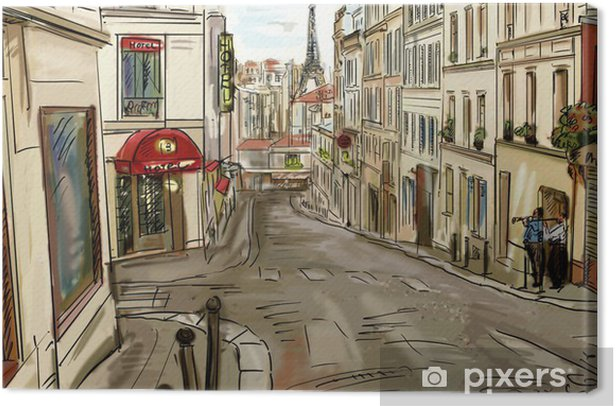 Obraz na płótnie Ulica w Paryżu - ilustracja - Tematy