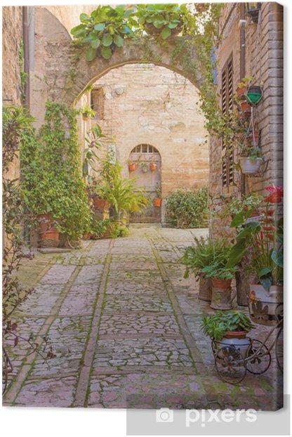 Obraz na płótnie Ulica z kamienny łuk ozdobiony roślinami (Spello) -