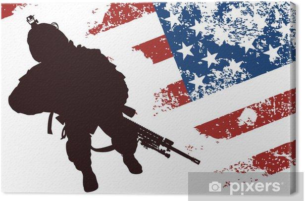 Obraz na płótnie US solgier z amerykańską flagą w tle - Zbrodnie i przemoc