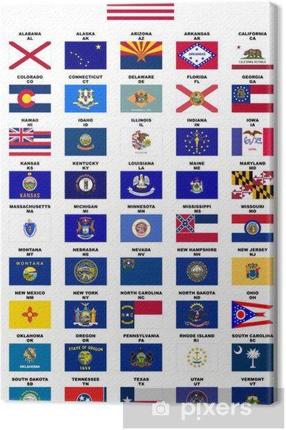 Obraz na płótnie USA: Flagi państw (z nazwami i kodów pocztowych) - Miasta amerykańskie