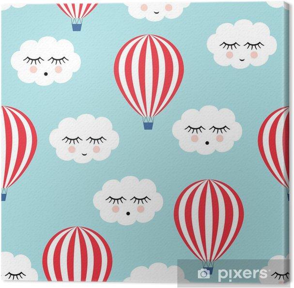 Obraz na płótnie Uśmiechnięty śpiących chmury i balonów na ogrzane powietrze szwu. Cute baby shower tło wektor. Styl rysowania dla dzieci. - Transport