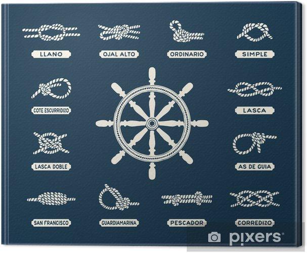 Obraz na płótnie Ustaw morskich węzłów liny - Transport wodny