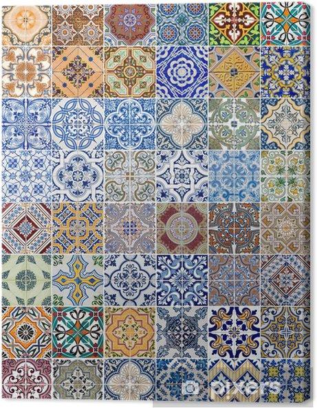 Obraz na płótnie Ustaw z 48 wzorów płytek ceramicznych - Tekstury
