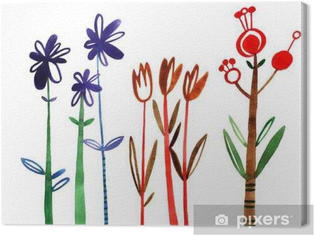 Obraz na płótnie Ustawić kwiaty. Kolorowy kwiatowy kolekcji z liści i kwiatów, rysunek akwarela. Wiosną lub latem konstrukcja zaproszenia, wesele lub kartki z życzeniami - Rośliny i kwiaty