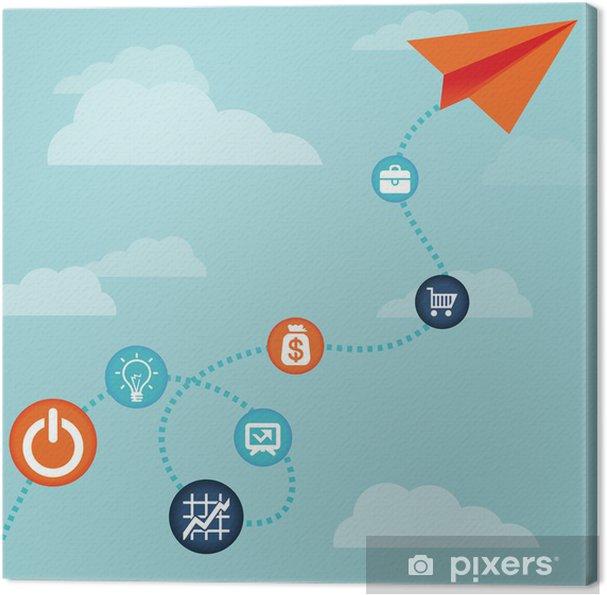 Obraz na płótnie Vector concept-biznes latający samolot papieru - Znaki i symbole