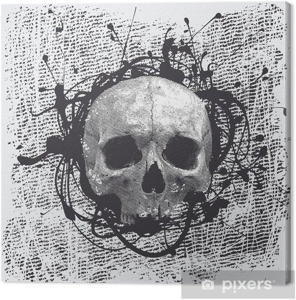 Obraz na płótnie Vector grunge półtonów tła z czaszką - Święta międzynarodowe
