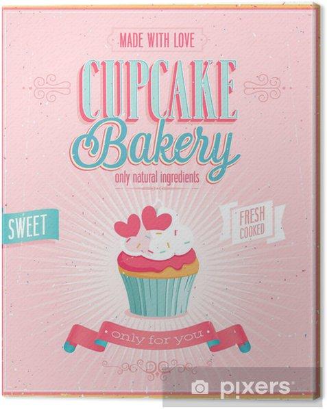 Obraz na płótnie Vintage Cupcake Poster. Ilustracji wektorowych. - Sprzedaż
