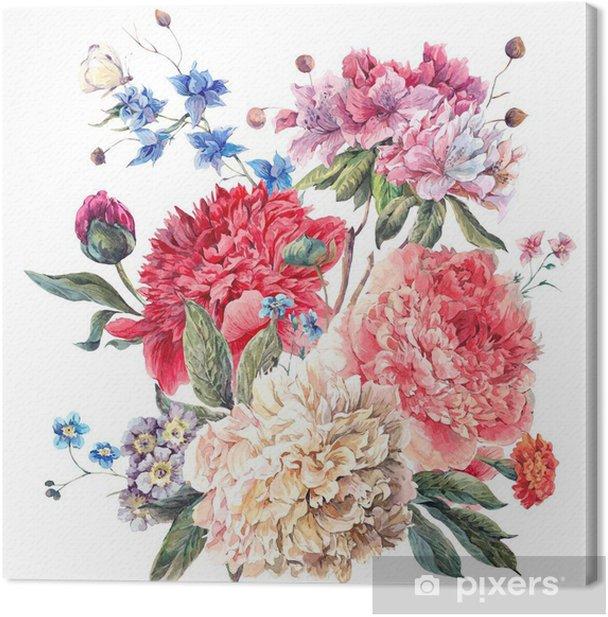 Obraz na płótnie Vintage Floral Greeting Card z kwitnących Piwonie - iStaging