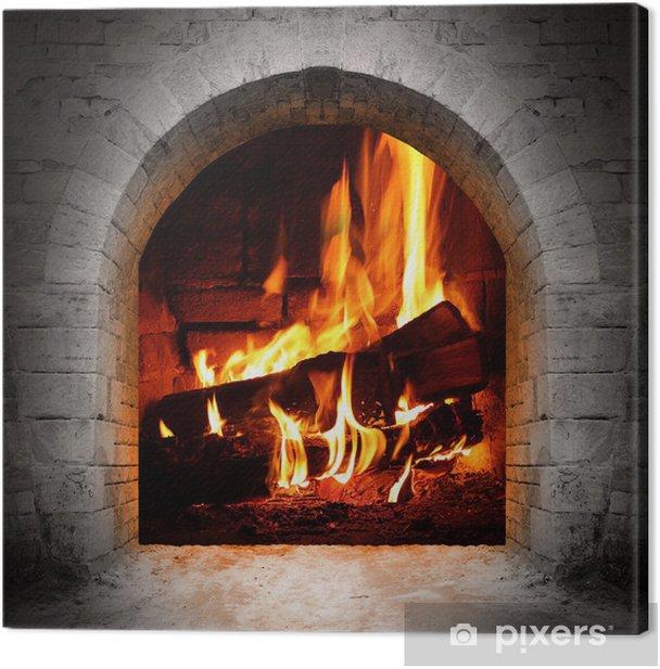 Obraz na płótnie Vintage kominek z dzienników spalania. - Kominek