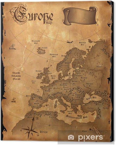 Obraz na płótnie Vintage Mapa Europy pionowy -
