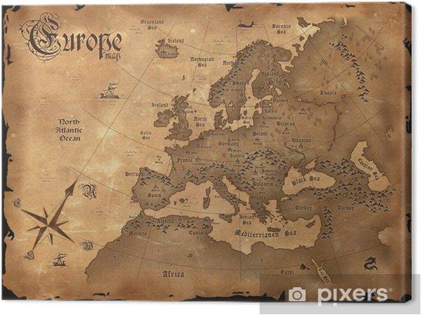 Obraz na płótnie Vintage, mapa Europy pozioma - Tematy