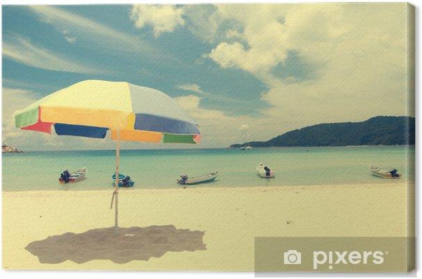 Obraz na płótnie Vintage, retro zdjęcie plaży z widokiem na ocean - Style