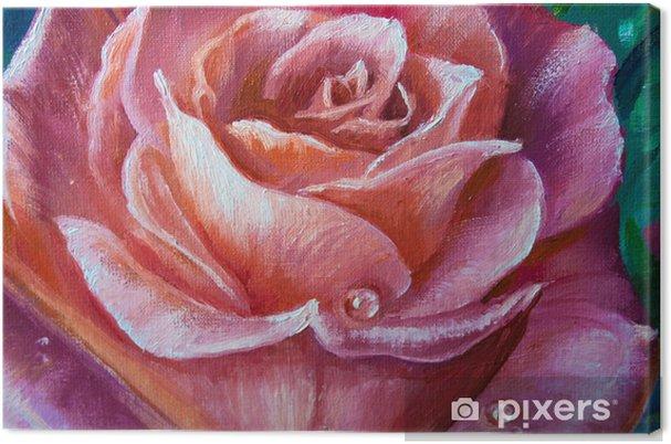 Obraz na płótnie Vintage różowe róże na powitanie karta, tło, kwiatowy ilustracja obraz olejny - Rośliny i kwiaty