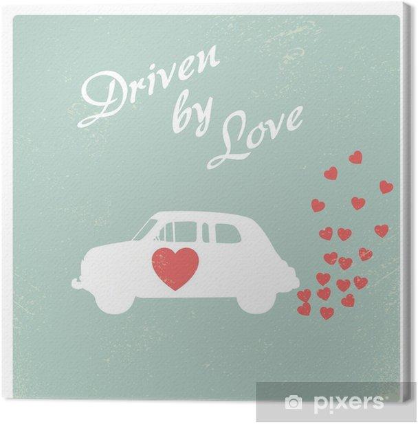 Obraz na płótnie Vintage samochód napędzany miłości romantycznej projektowania Pocztówka dla Valentine karty. - Zasoby graficzne