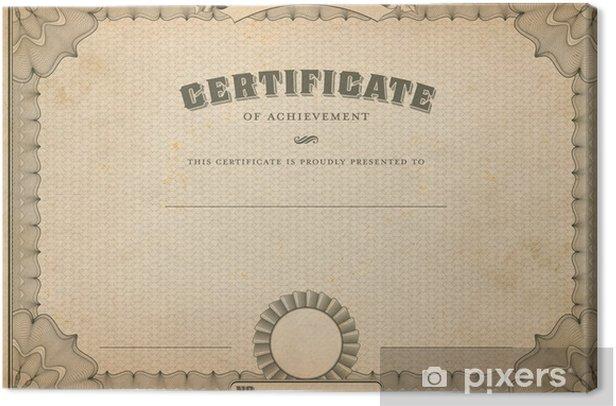 Obraz na płótnie Vintage, szablon certyfikatu z tytułem - Sukces i osiągnięcia
