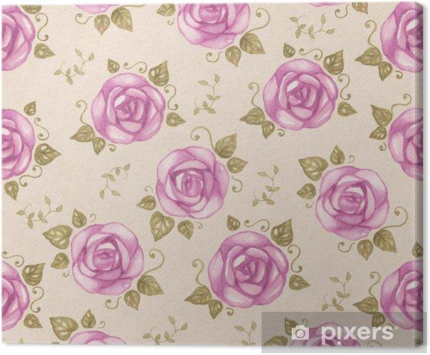 Obraz na płótnie Vintage szwu wzór z akwareli róż - Style