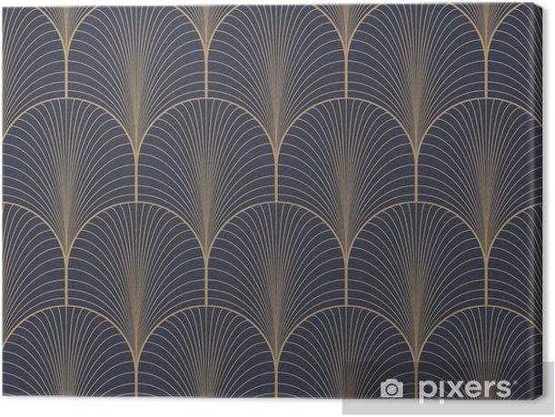 Obraz na płótnie Vintage tan niebieski i brązowy w stylu art deco szwu wektor wzór tapety - Zasoby graficzne