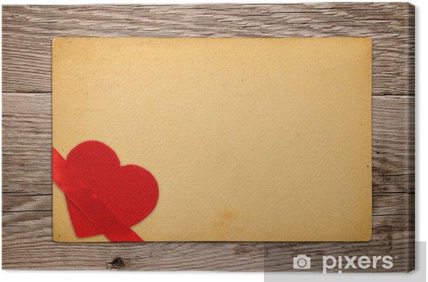 Obraz na płótnie Vintage Valentine karty z czerwonym sercem i wstążką - Święta międzynarodowe