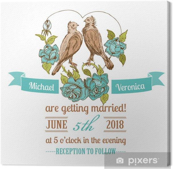 Obraz Na Płótnie Vintage Wedding Invitation Card Ptaki I Tematyczne Kwiaty