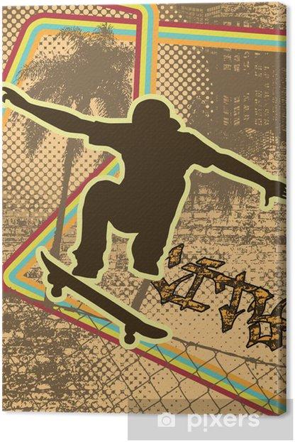Obraz na płótnie Vintage wzór tła miejskiego Skater sylweta - Skateboarding